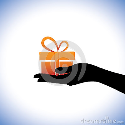 Illustration of person giving/receiving gift package