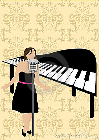 Illustration of a piano and a girl singing