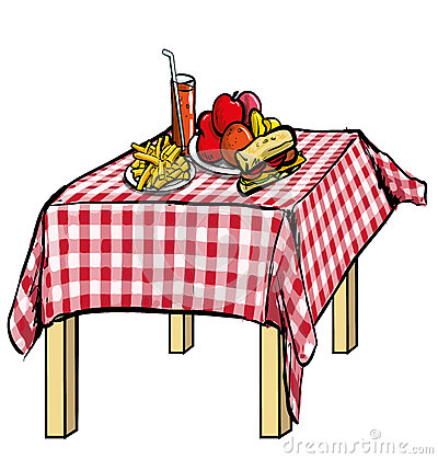 illustration of a picnic table with food on it royalty free stock photos image 31468498. Black Bedroom Furniture Sets. Home Design Ideas