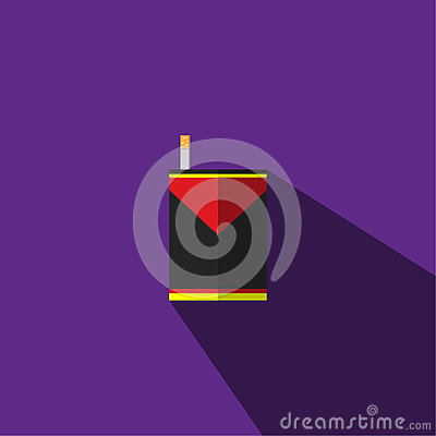 illustration is a picture of a red, black, yellow cigarette with a cigarette. Vector Illustration