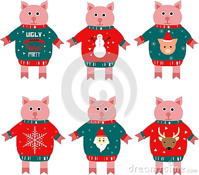 Illustration of a piggy new year symbol in a sweater. Vector Illustration