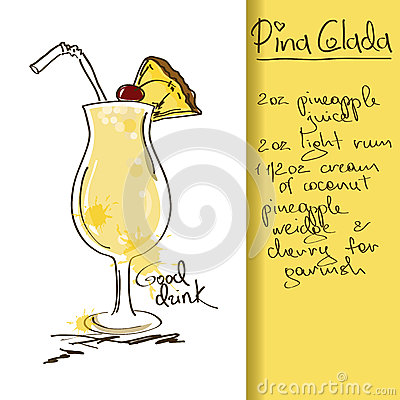 Illustration with Pina Colada cocktail