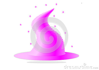 Illustration of pink witch hat isolated on white