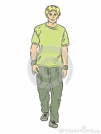 Illustration portrait of a guy walking