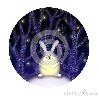 Illustration of rabbit in the forest Stock Photo
