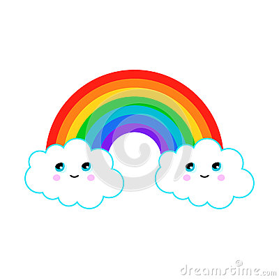 Illustration of a rainbow with fun clouds