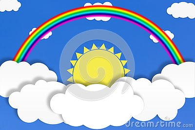 Abstract White Clouds, Yellow Sun and Rainbow in Blue Sky Background Stock Photo