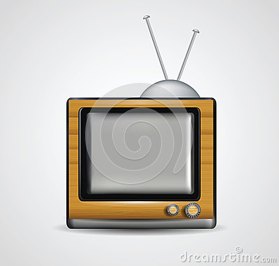 Illustration of realistic wooden tv