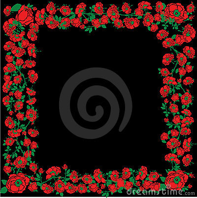 Illustration With Red Rose Floral