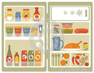 Refrigerator with food and drinks