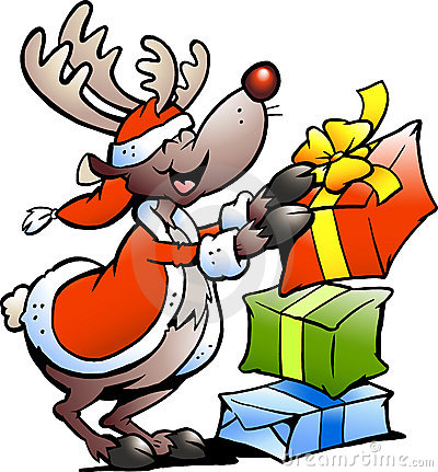 Illustration of an Reindeer with Christmas gifts