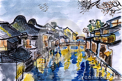 Illustration The river village wuzhen