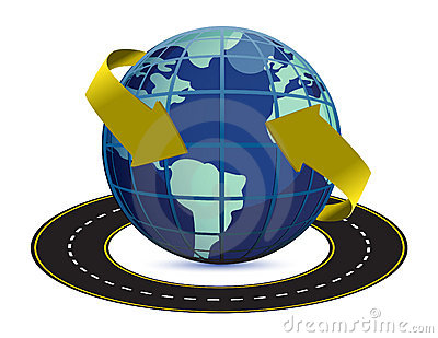 Illustration of road around the earth