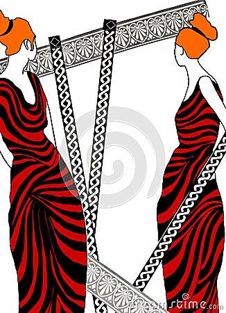 Illustration of Roman women