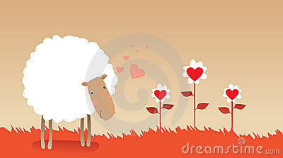 Illustration of romantic sheep