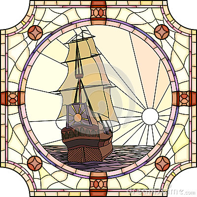 Illustration of sailing ships of the 17th century at sunset.