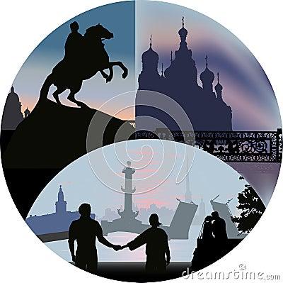 Saint-Petersburg views in round
