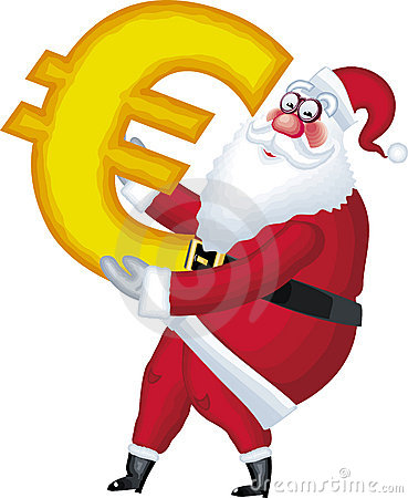 Illustration of Santa Claus in various poses euro