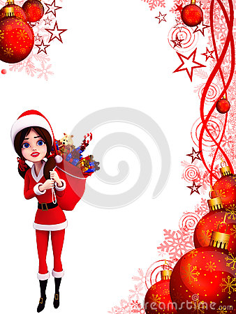Illustration of santa girl with gift bag