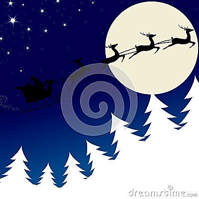 Illustration of Santa and his reindeer