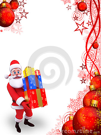 Illustration of santa  on red background