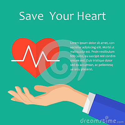 Illustration of save heart with heartbeat concept. Medical icon. Vector Illustration