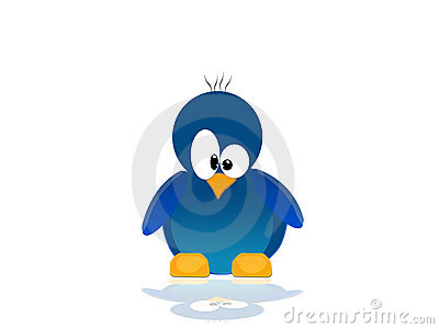 Illustration with scene of the blue penguin