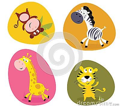 Free Illustration Set Of Cute Safari Animals Royalty Free Stock Photo - 14929775