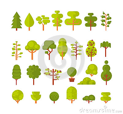 Illustration of a set trees and shrubs on white background in flat style Vector Illustration