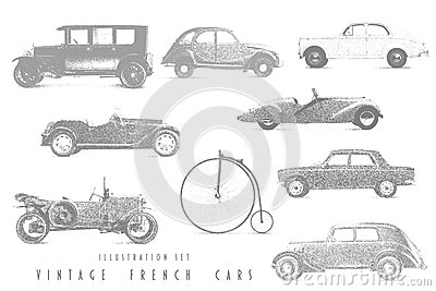 Illustration Set Vintage French cars