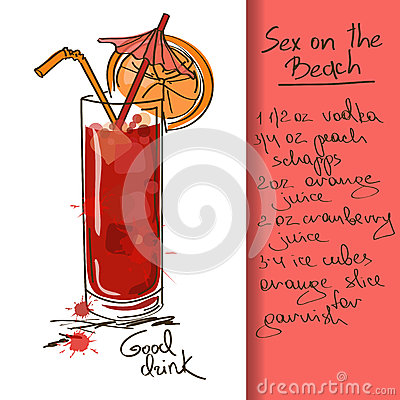 Illustration with Sex on the Beach cocktail