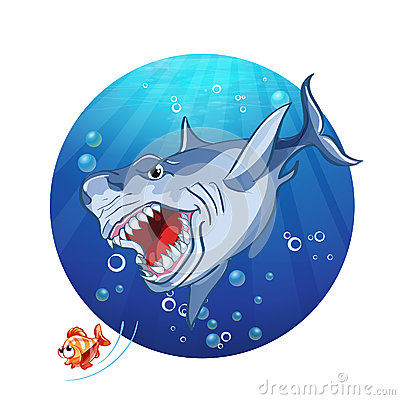 Illustration of a shark chase the little fish