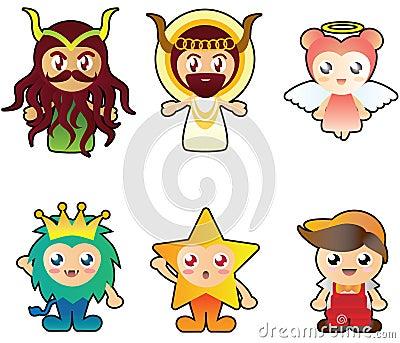 Illustration of six strange cute characters