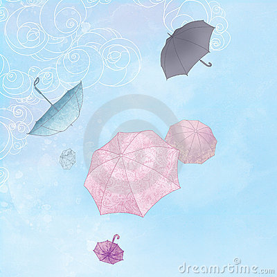 Illustration  of six umbrellas flying in a  sky