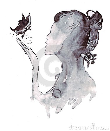 Free Illustration Sketch A Portrait Of A Female Fashion Silhouette Of A Butterfly Royalty Free Stock Images - 83727999