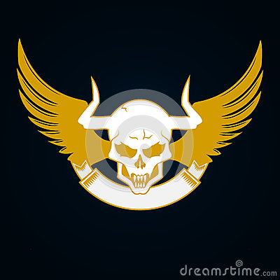 Illustration of a skull with horns wings and emblem template stock