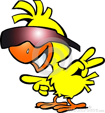 Illustration of an smart chicken with sunglass
