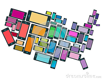 An illustration of SmartPhones all across the USA Vector Illustration
