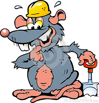 illustration of an Smiling Rat holding a Spade