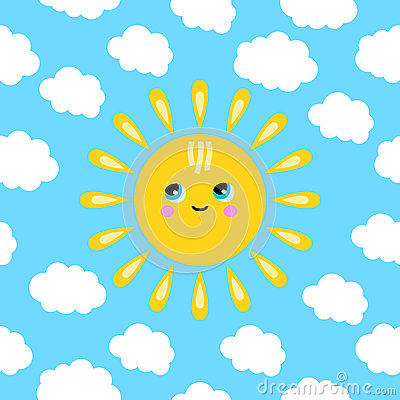 Illustration of a smiling sun in the clouds