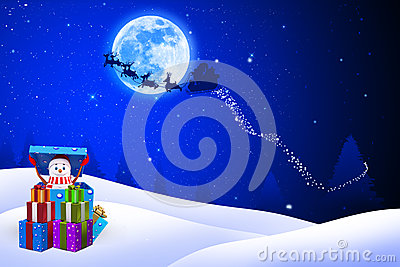 Illustration of snow man is coming out of gift box
