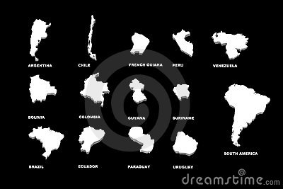 A illustration of the south america maps