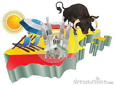 Illustration Spanish tourist attractions in Spain