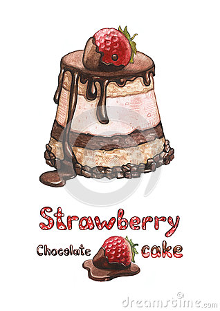 Illustration of strawberry cake