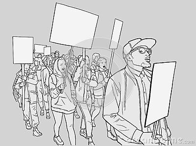 Illustration of student demonstration with blank signs Vector Illustration