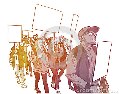 Illustration of student demonstration with blank signs Stock Photo