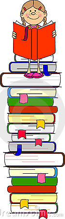 illustration of students and books,vector