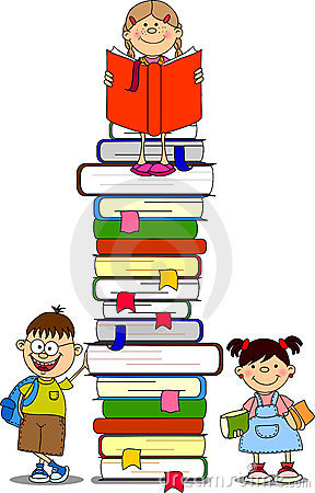 illustration of students and books vector