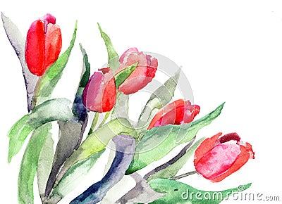 Illustration stylisée de fleurs de tulipes