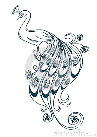Illustration With Stylized Ornamental Peacock Stock